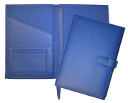 Blue soft leather journal open and closed views